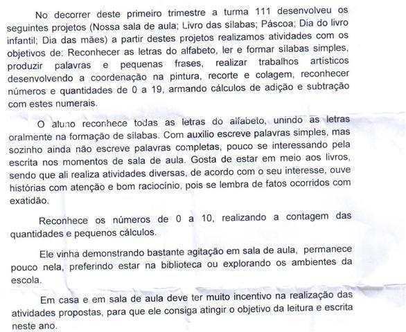 AVALIA    O TRIMESTRAL DO ALUNO PEDRO  REFERENTE AO PRIMEIRO TRIMESTRE